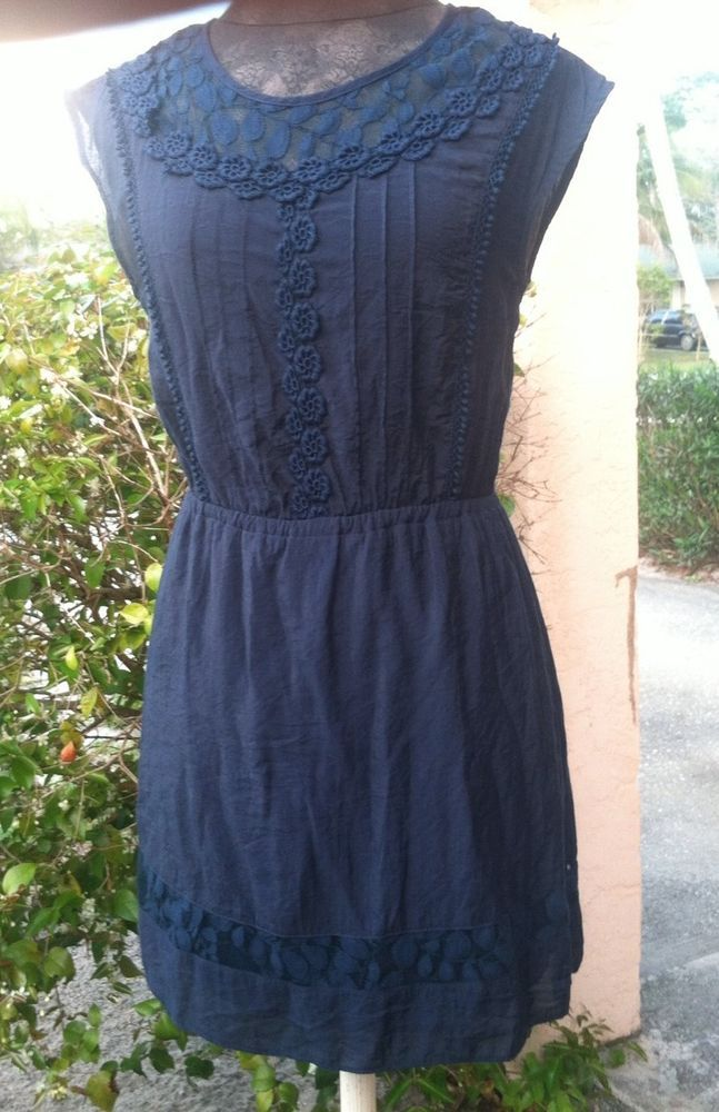 Ya Los Angeles Anthropologie Dress Sz S Navy Spring Lace Great Condition! #YaLosAngeles #Casual