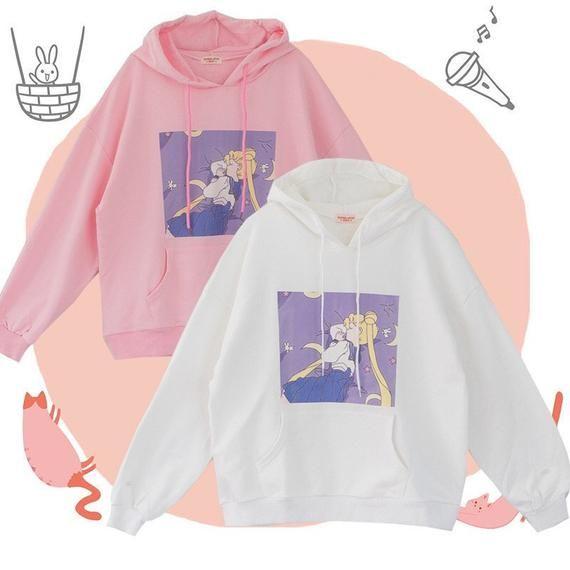 Kawaii Hoodie , Sailor Moon Oversize Hoodie, Japanese Kawaii
