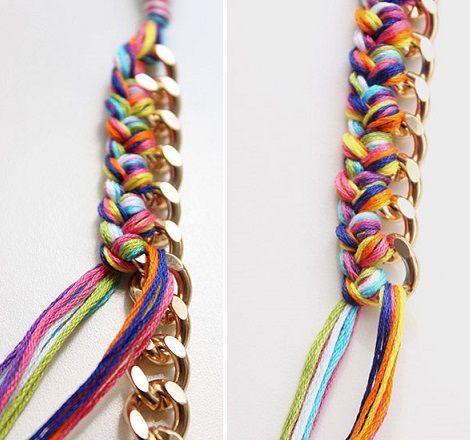 ad6872cb8673 como hacer pulsera eslabones hilo resultado | Diseño de collares ...