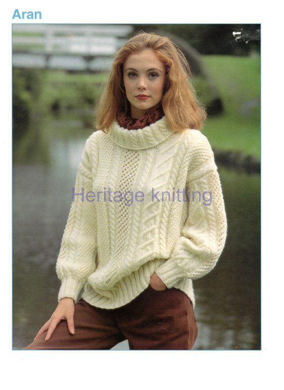 womans ladies sweater aran knitting pattern 99p pdf | Knitting for ...