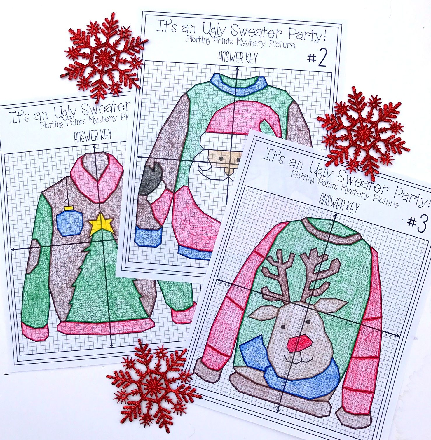 Christmas Ugly Sweaters Plotting Points Mystery Picture – Christmas Worksheets for Middle School