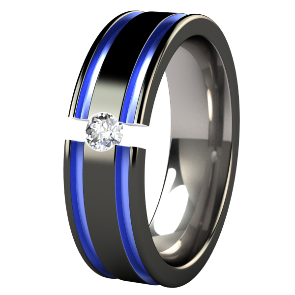 Mens Black And Blue Wedding Rings Abyss Colored Tension Set Anium Ring