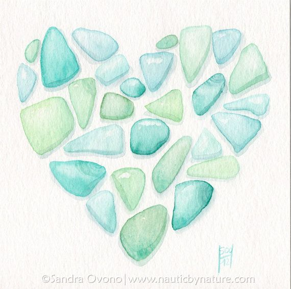 Sea Glass Heart Original Watercolour Painting 5x5 20 Euros