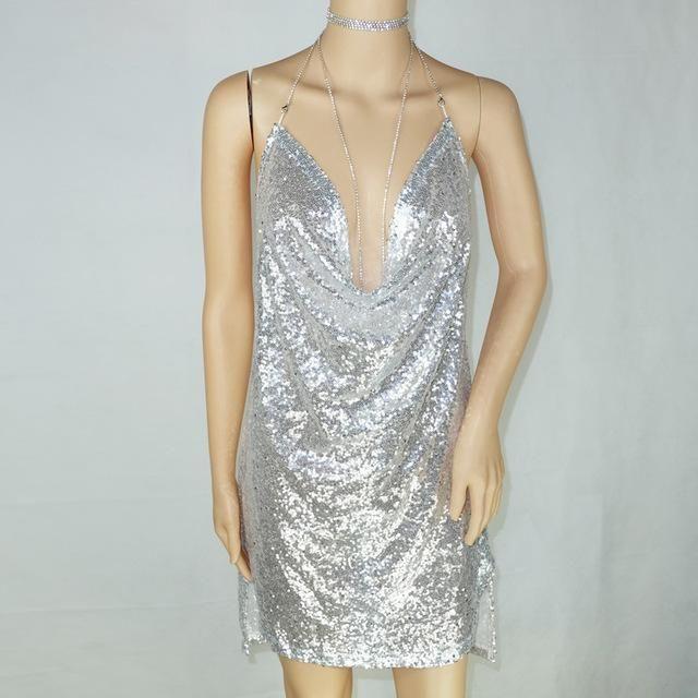 0c209f727a20 Liva Girl Women Diamond Sleeveless Deep-V Halter Split Gold Sequin Dress  Backless Sexy Metal Party Dress Christmas Mini Dresses