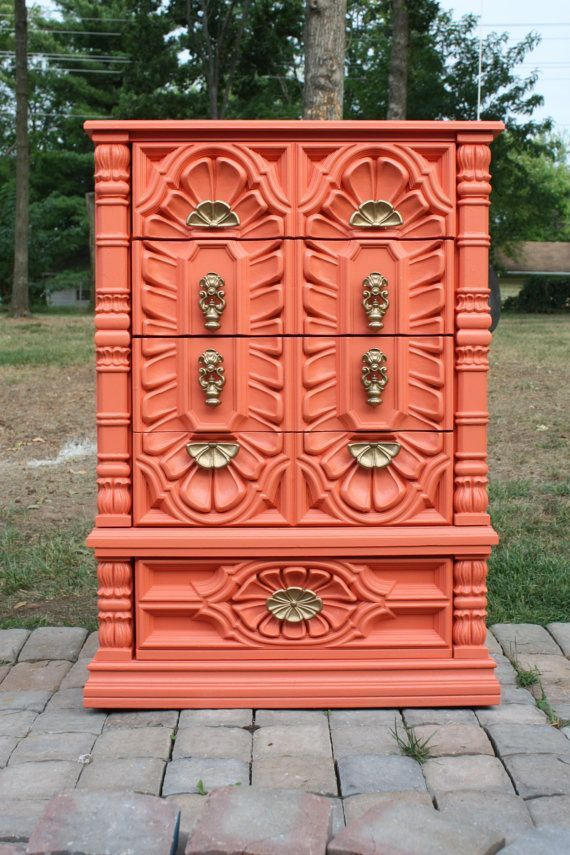 Vintage Elaborate Coral Chest of Drawers/Dresser by tootyb
