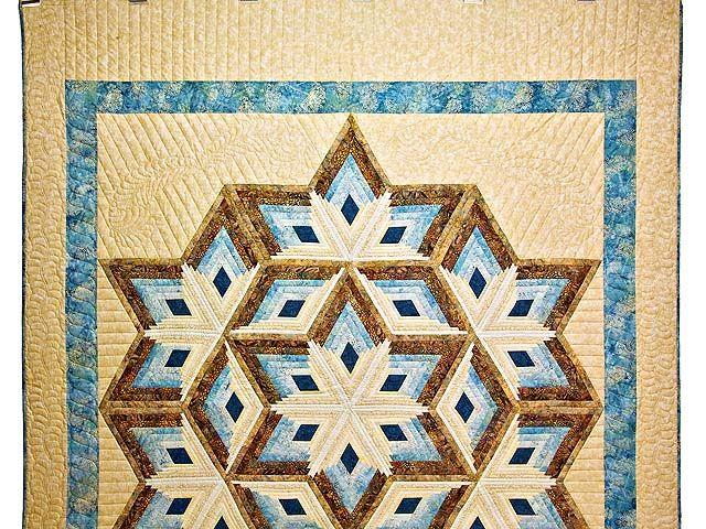 Pastel Blue and Gold Diamond Star Log Cabin Quilt Photo 2 | Large ... : log cabin diamond quilt pattern - Adamdwight.com