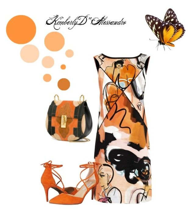 """""""Orange And Black Abstracts"""" by kimberlydalessandro ❤ liked on Polyvore featuring Giles, Chloé and Kristin Cavallari"""