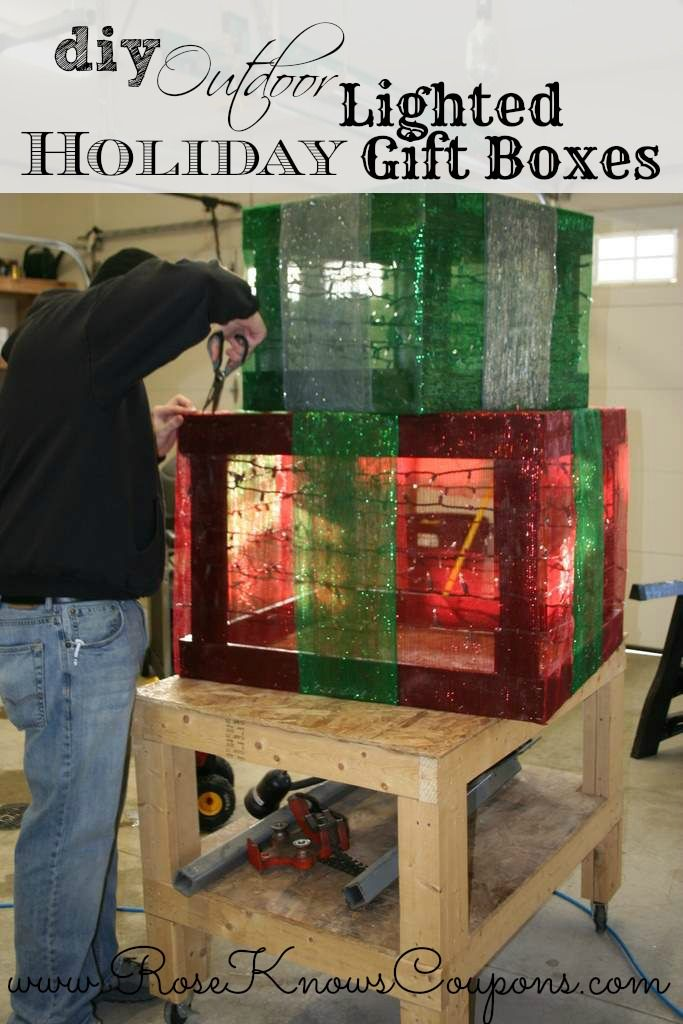 DIY Outdoor Lighted Holiday Gift Boxes Outdoor christmas