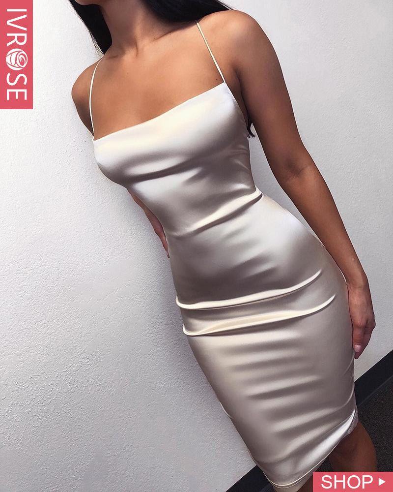 Spaghetti Strap Crisscross Backless Dress #shortbacklessdress