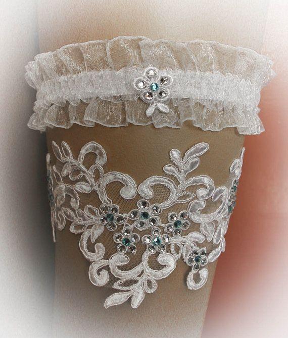French Lace Wedding Garter Set with Swarovski by SarayaWedding, $78.00