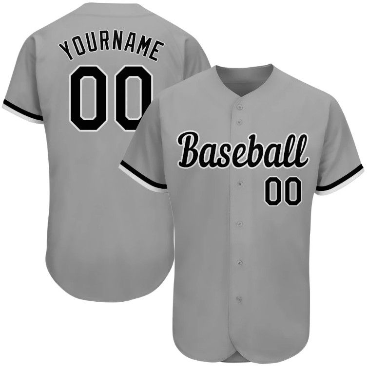 Aitrony Custom Gray Black White Authentic Baseball Jersey In 2020 Personalized Jersey Jersey Jersey Design