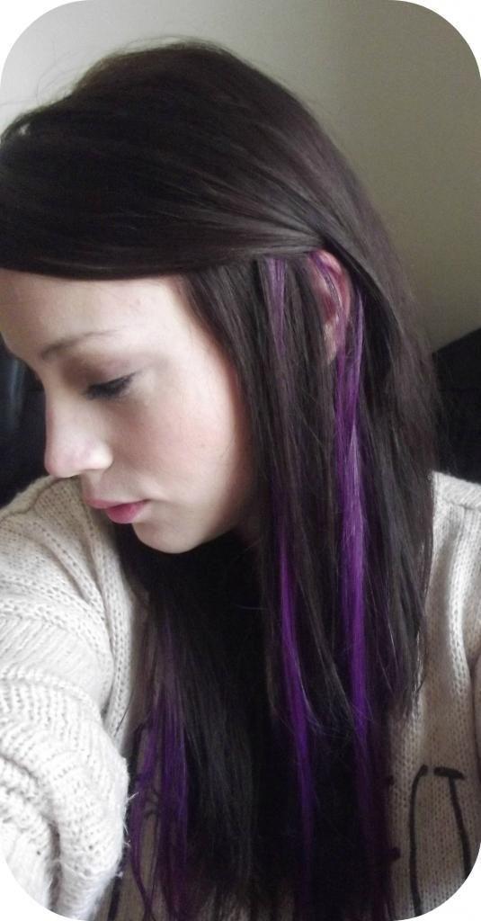 Purple Streaks In Light Brown Hair I Want Purple Streaks Hair Color Streaks Purple Brown Hair Purple Hair Streaks