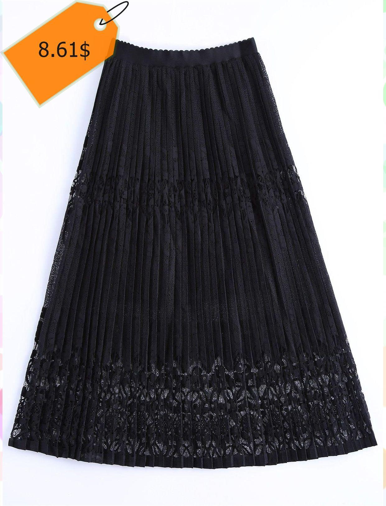 Stylish high waist lace overlay pleated skirt for women classy