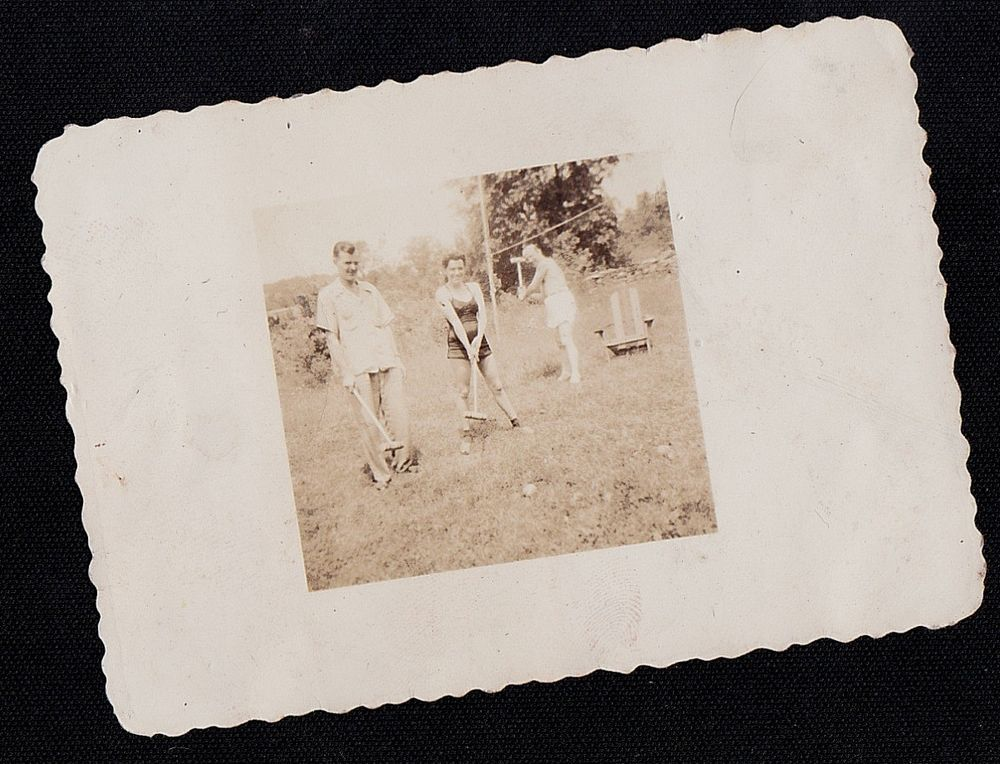 Old Vintage Antique Photograph Woman With Two Men Playing Croquet With Clubs