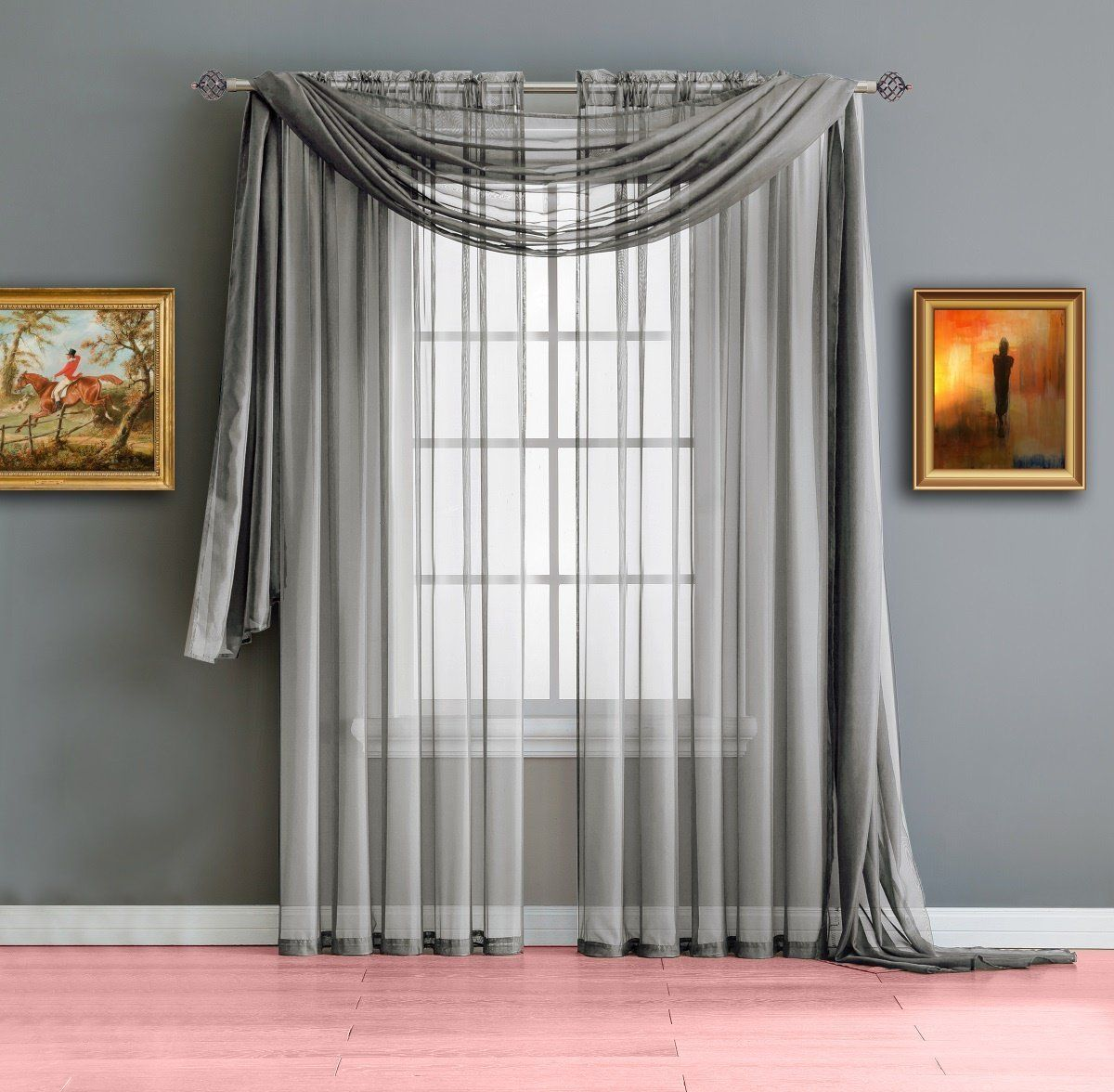 Warm home designs long dark silver sheer window curtains blinds
