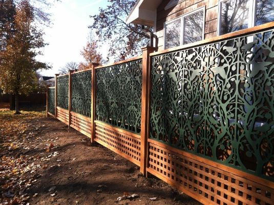 Acurio latticeworks fence panels black tree of life my for Outdoor lattice privacy panels