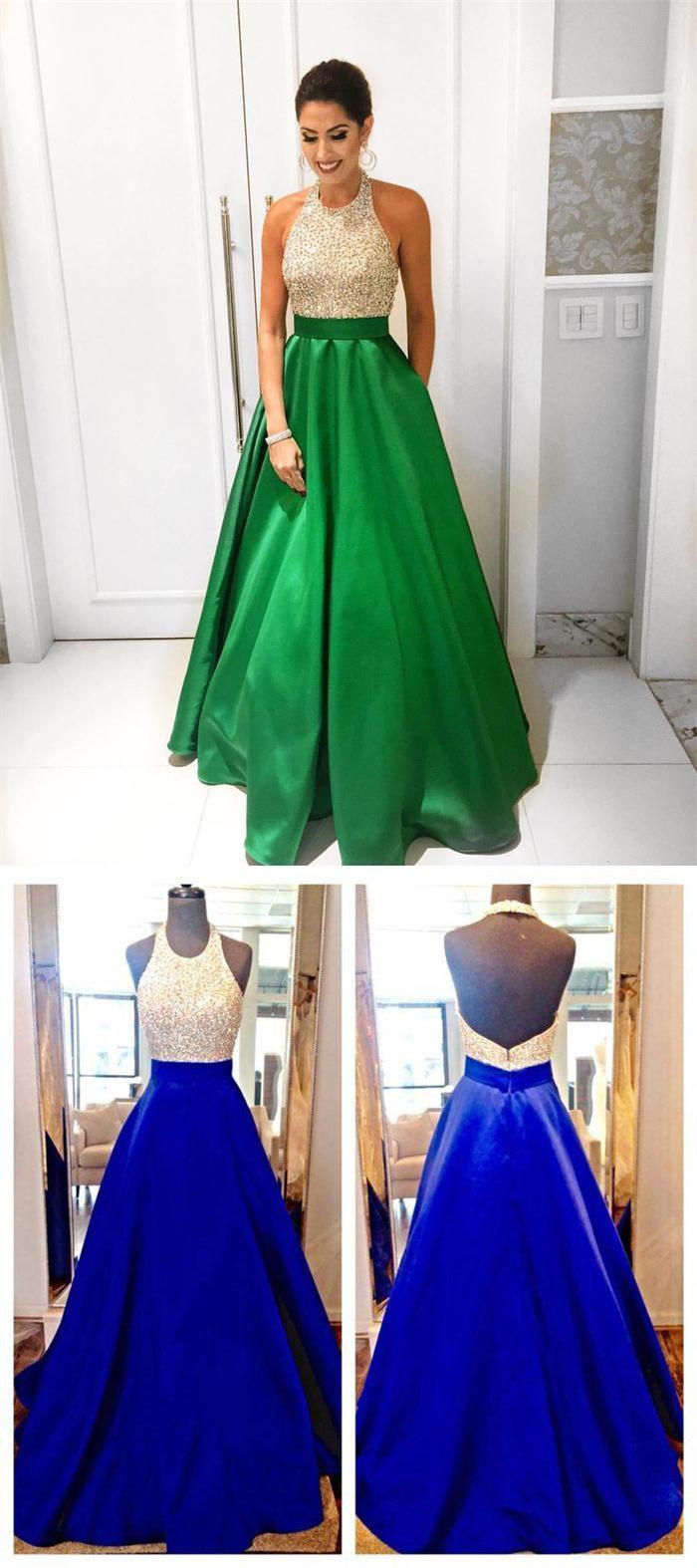 Green backless prom dress  Green Aline Satin Beaded Prom DressesHalter Backless Prom Gowns