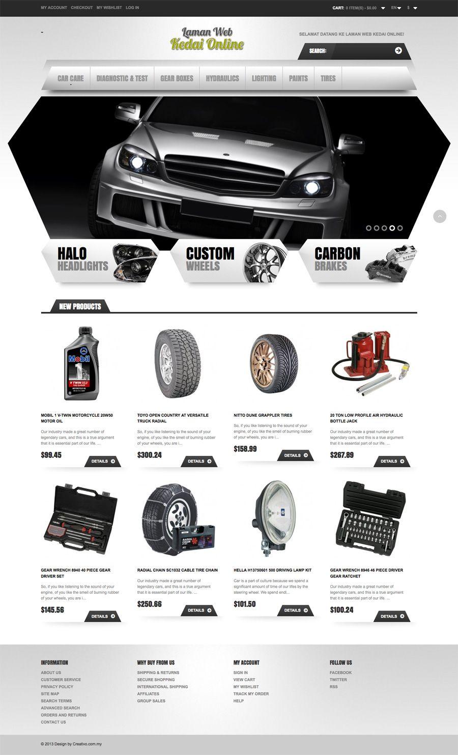 Design of bottle car jack - Car Accessories Ecommerce Website Design