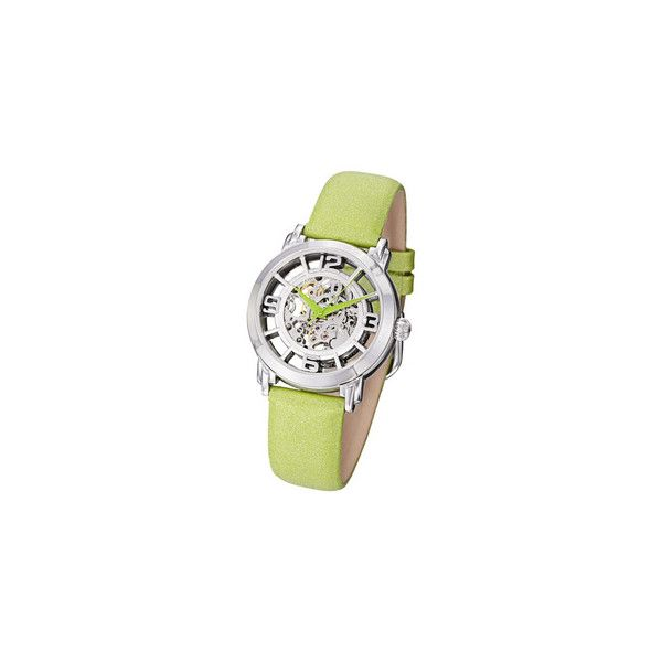 Stuhrling Original Women's 'Winchester' Automatic Green Satin Leather... ($116) ❤ liked on Polyvore featuring jewelry, watches, skeleton wristwatch, dial watches, water resistant watches, bezel watches and crown jewelry