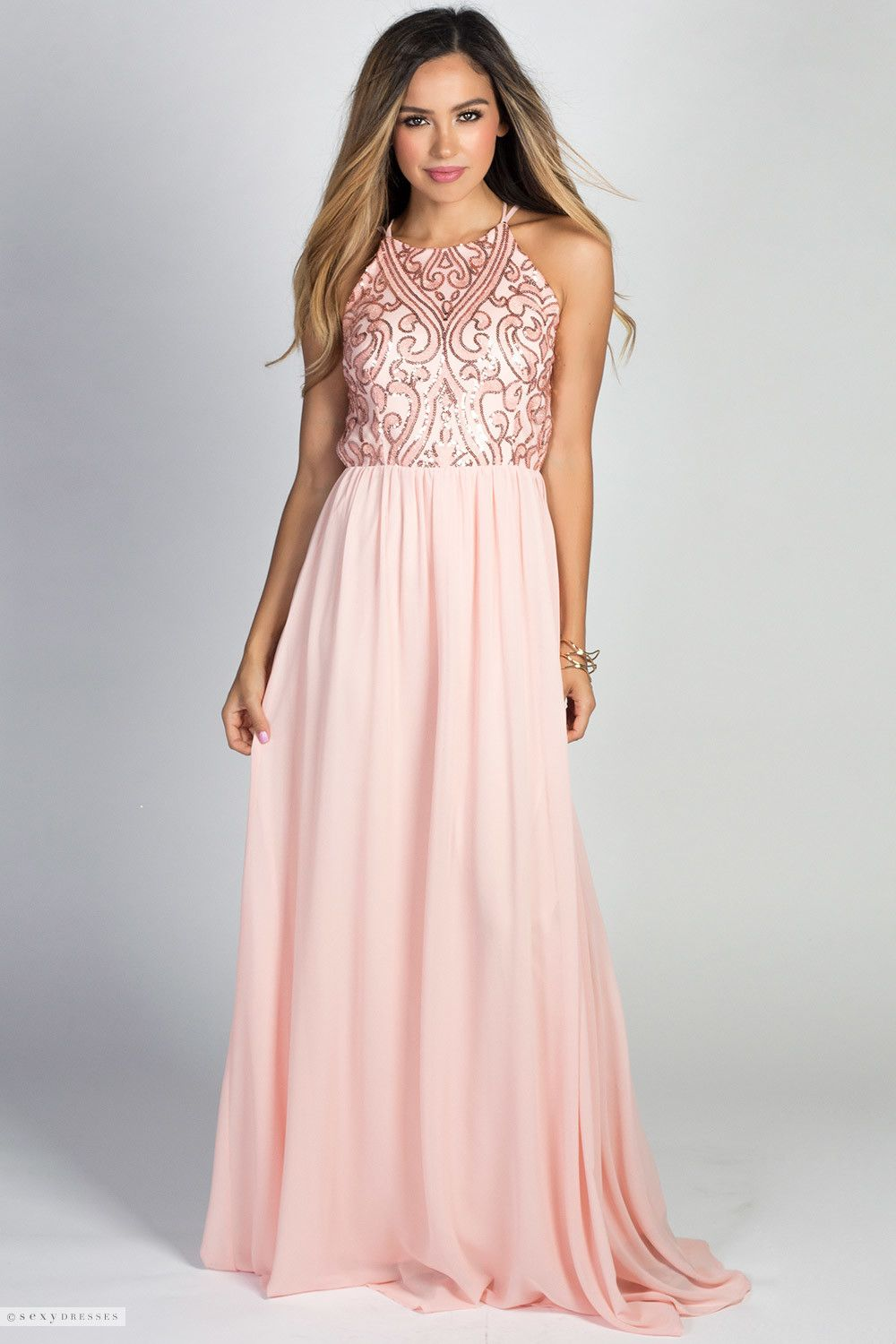 Blush Pink High Neck Halter Backless Chiffon Goddess Gown with ...