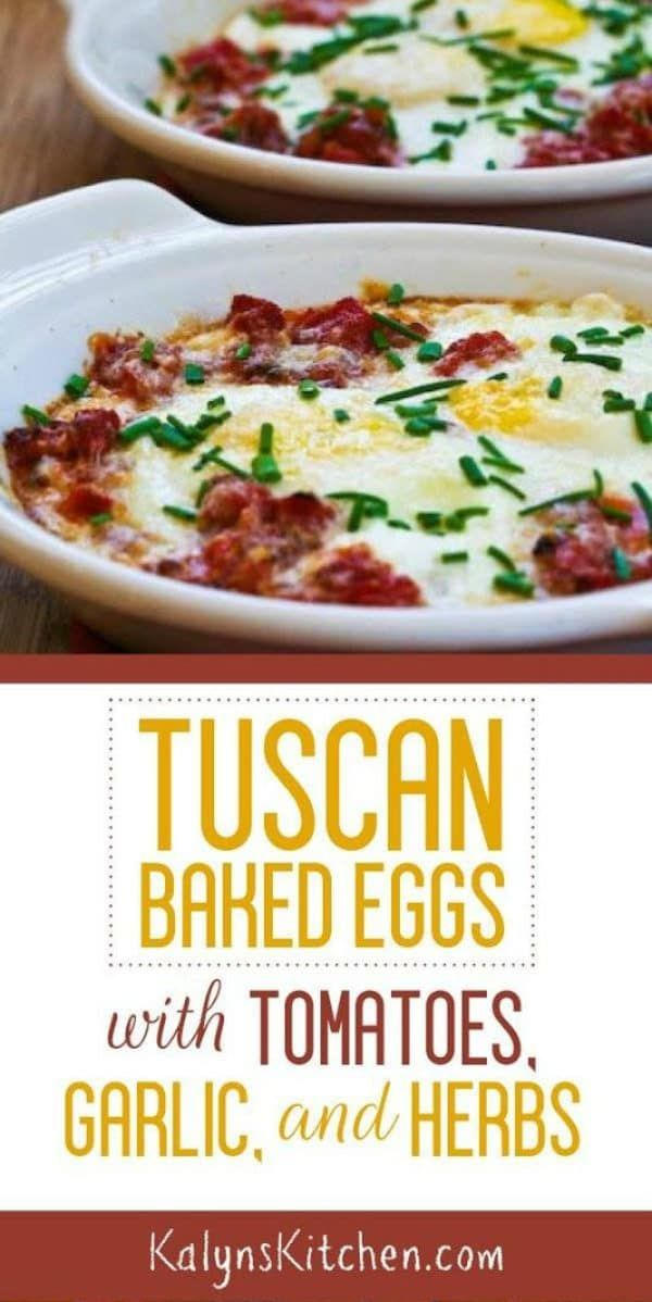 Tuscan Baked Eggs with Tomatoes, Red Onion, Garlic, Parmesan, and Herbs - Kalyn's Kitchen -  Tuscan