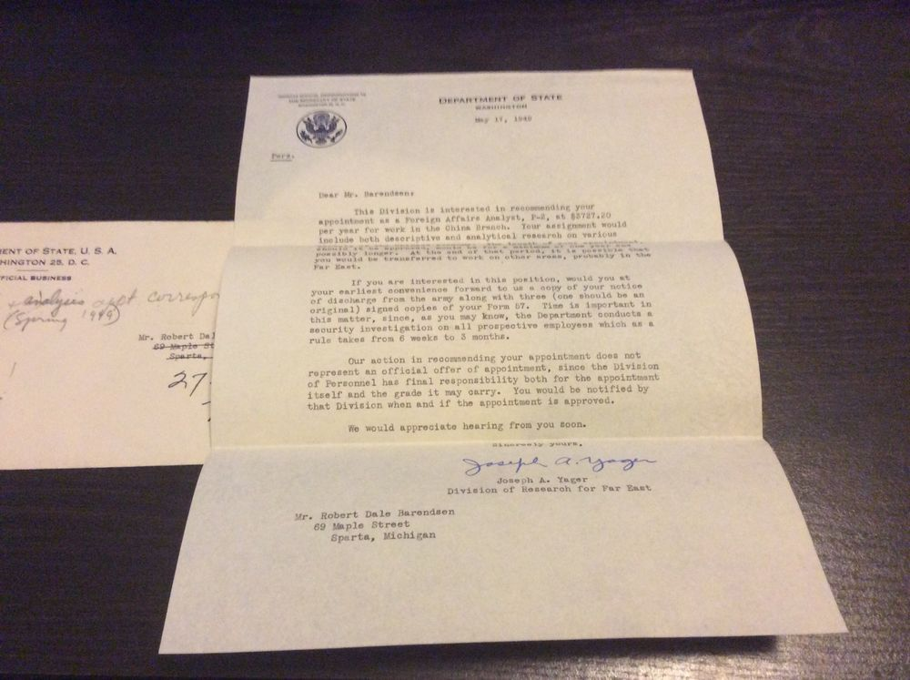 1949 Department of State job offer letter signed Joseph Yager – Job Offer Letters