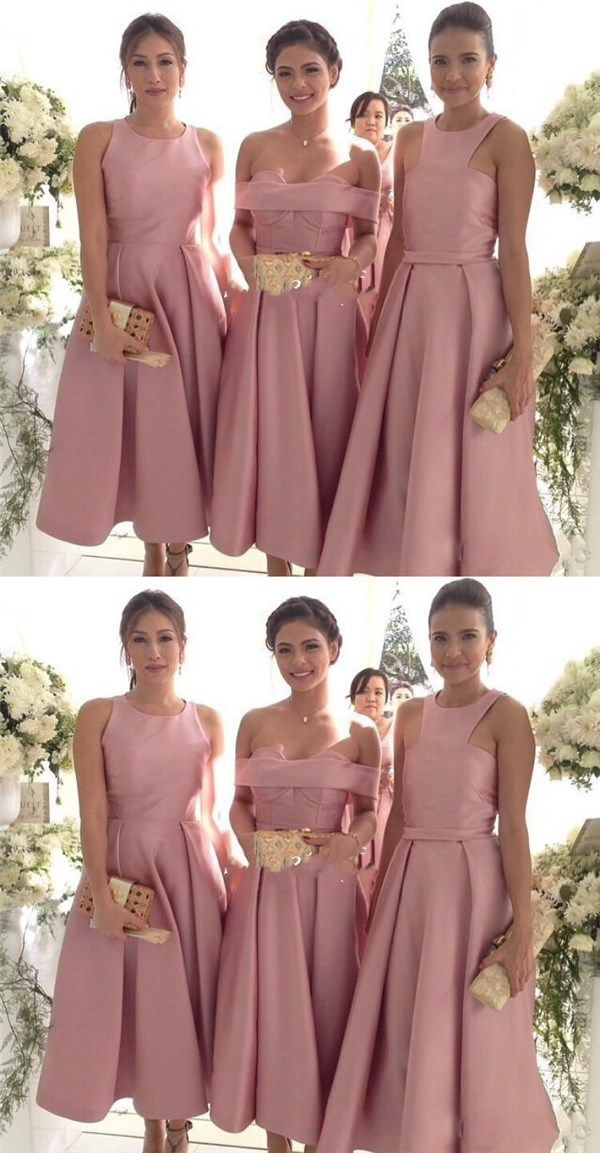 Vintage Dusty Pink Mismatched Tea Midi Length Bridesmaid Dresses Fall 7111802 Dress Prom And Wedding