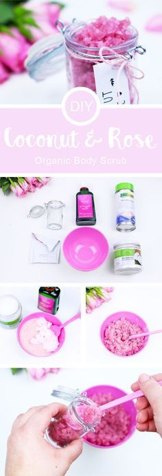 DIY Kokosnuss-Rosen Körperpeeling für zarte Haut #wichtelgeschenkideenselbermachen