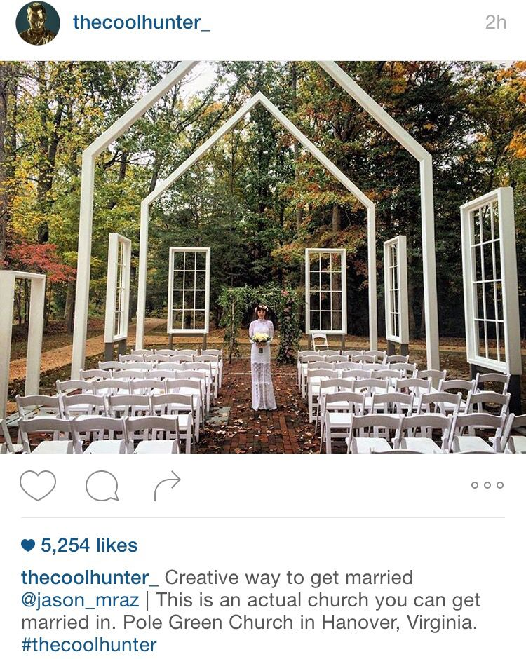 Pole Green Church Virginia Via Thecoolhunter Jason Mraz Celebrity Weddings Outdoor Wedding