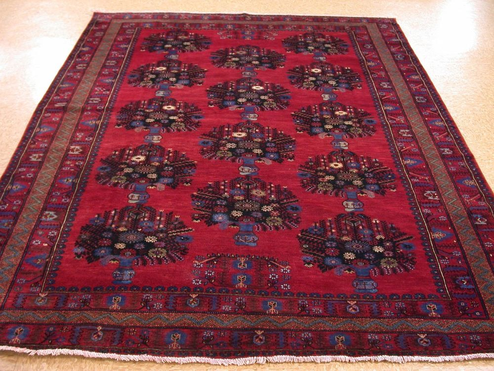 7 x 9 AFGHAN BALOUCH Tribal Hand Knotted Wool REDS BLUES NEW Oriental Rug #Unbranded #AfghanBalouchGeometricTribal