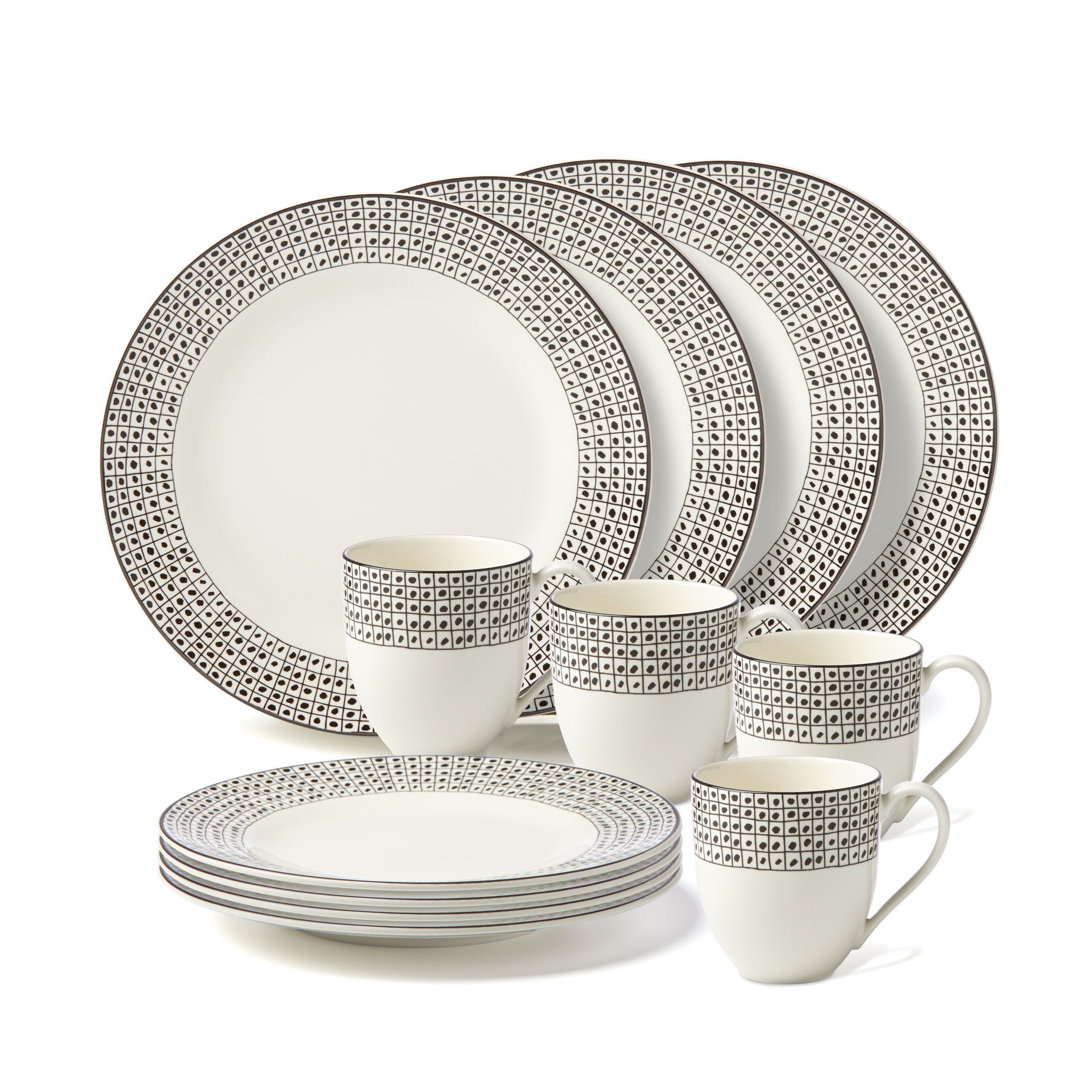Lenox Around the Table Dot 12-piece Dinnerware Set  sc 1 th 225 & Lenox Around the Table Dot 12-piece Dinnerware Set (Black \u0026 White ...