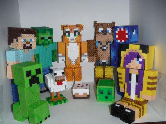 More minecraft perler beads figurines these are cute - Minecraft kinderzimmer ...