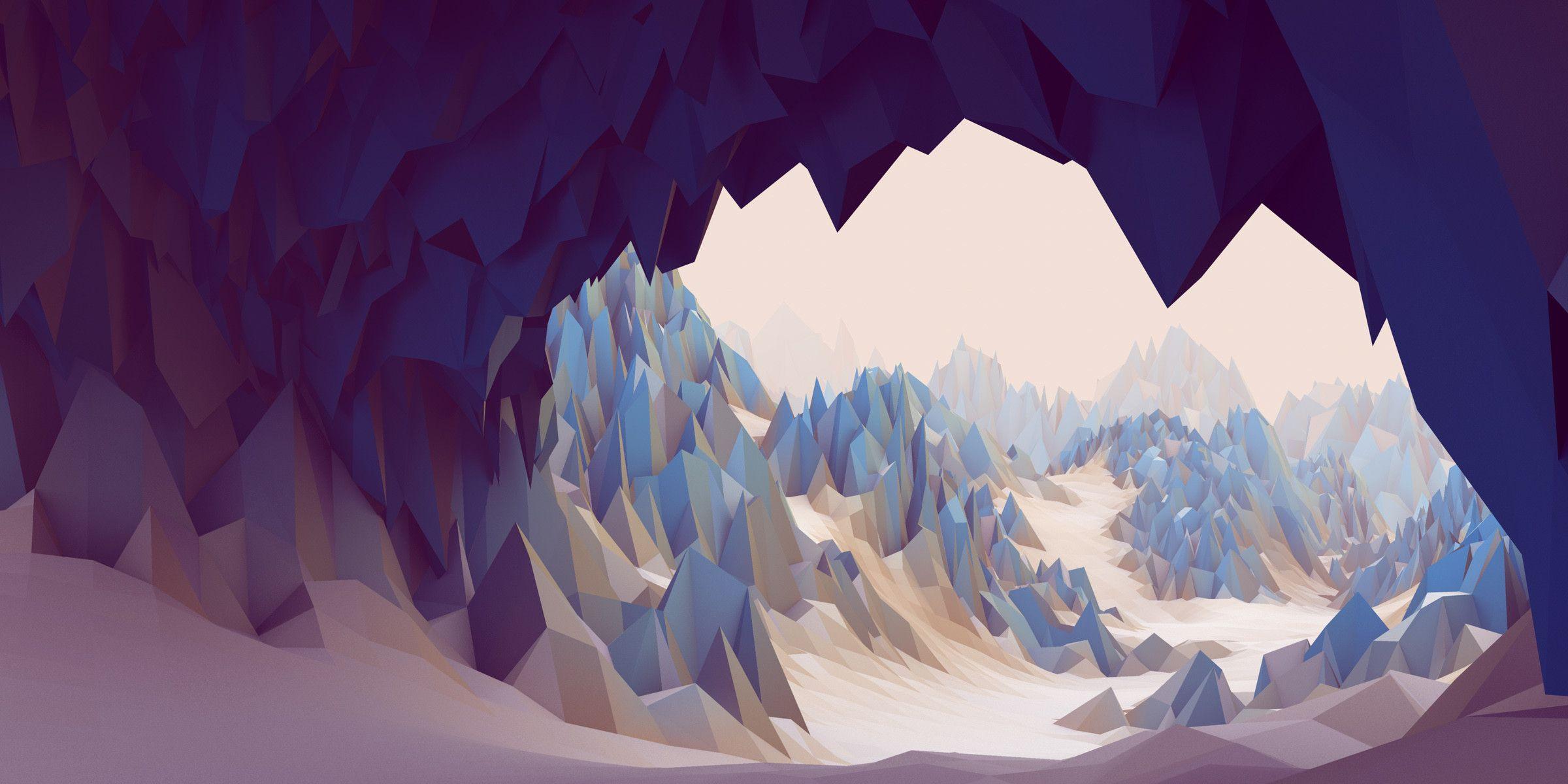 Low Polygon Cave Wallpaper 2400x1200 Id 50780 Polygon Art Low Poly Landscape Wallpaper