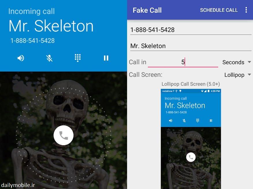دانلود برنامه Fake Call Ad Free تماس جعلی و تقلبی برای