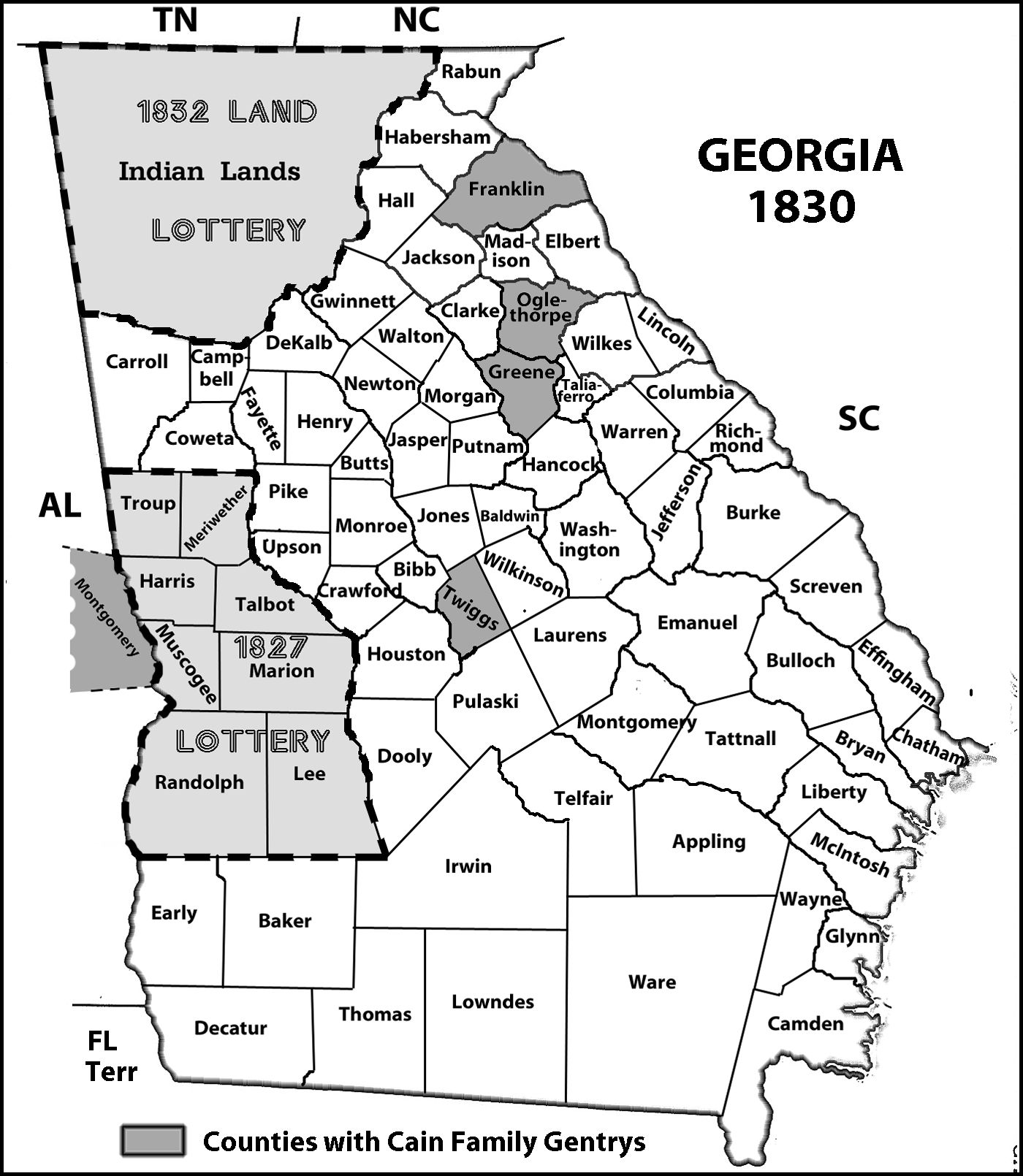 Georgia County Map With And Land Lottery Areas - Counties of georgia map