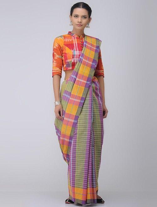 c846798ef6 Pink-Green Cotton Gamcha Saree | Clothes all kinds | Khadi saree ...