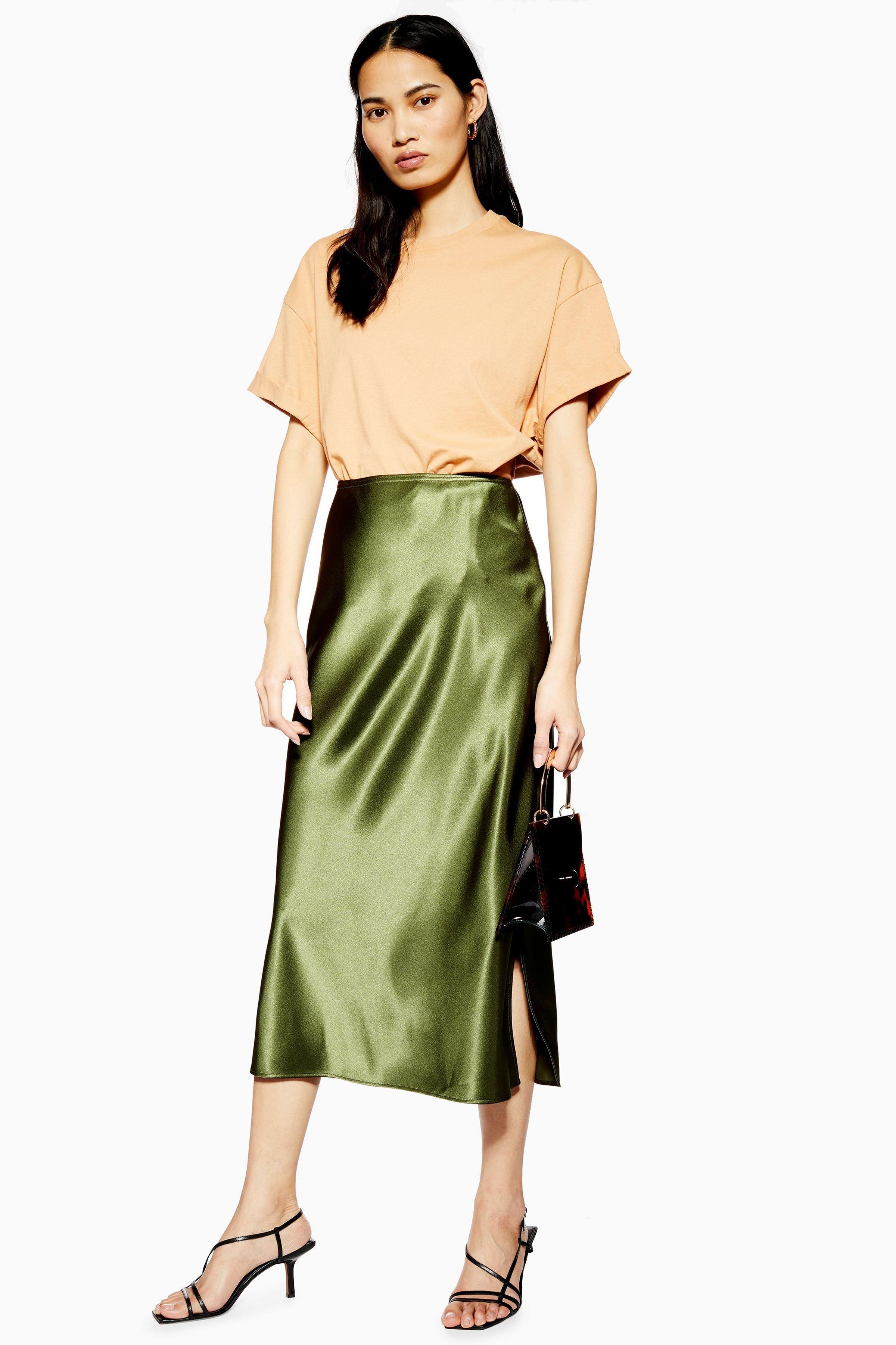 Topshop Satin Bias Midi Skirt Khaki