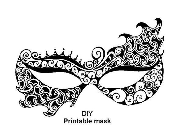 Printable Mask Masquerade Mask Carnival Mask Party  Evascreation