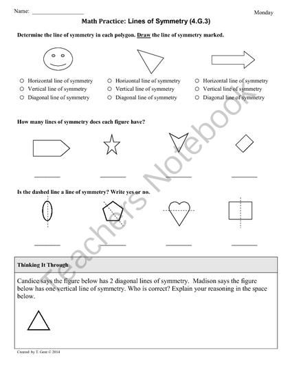 4g3 Symmetry 4th Grade Common Core Math Worksheets From