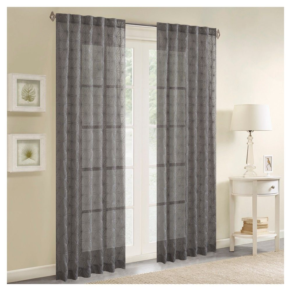 "Vera Sheer Embroidered Window Panel Charcoal (Grey) (50""x84"")"
