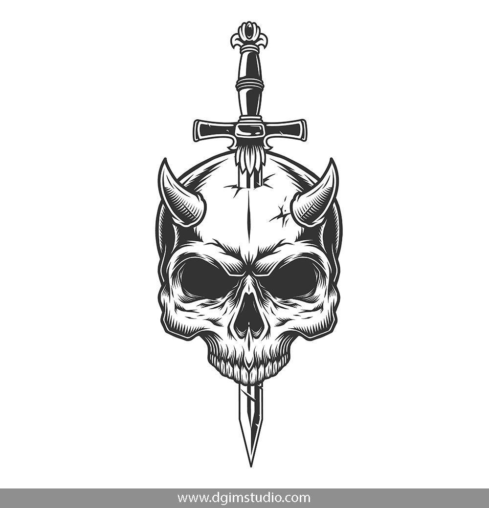 Demons Emblems Collection Skull Tattoo Design Skull Sketch Skull With Horns