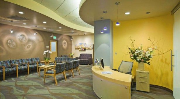 Modern Office Reception Area Design Idea With Yellow Color