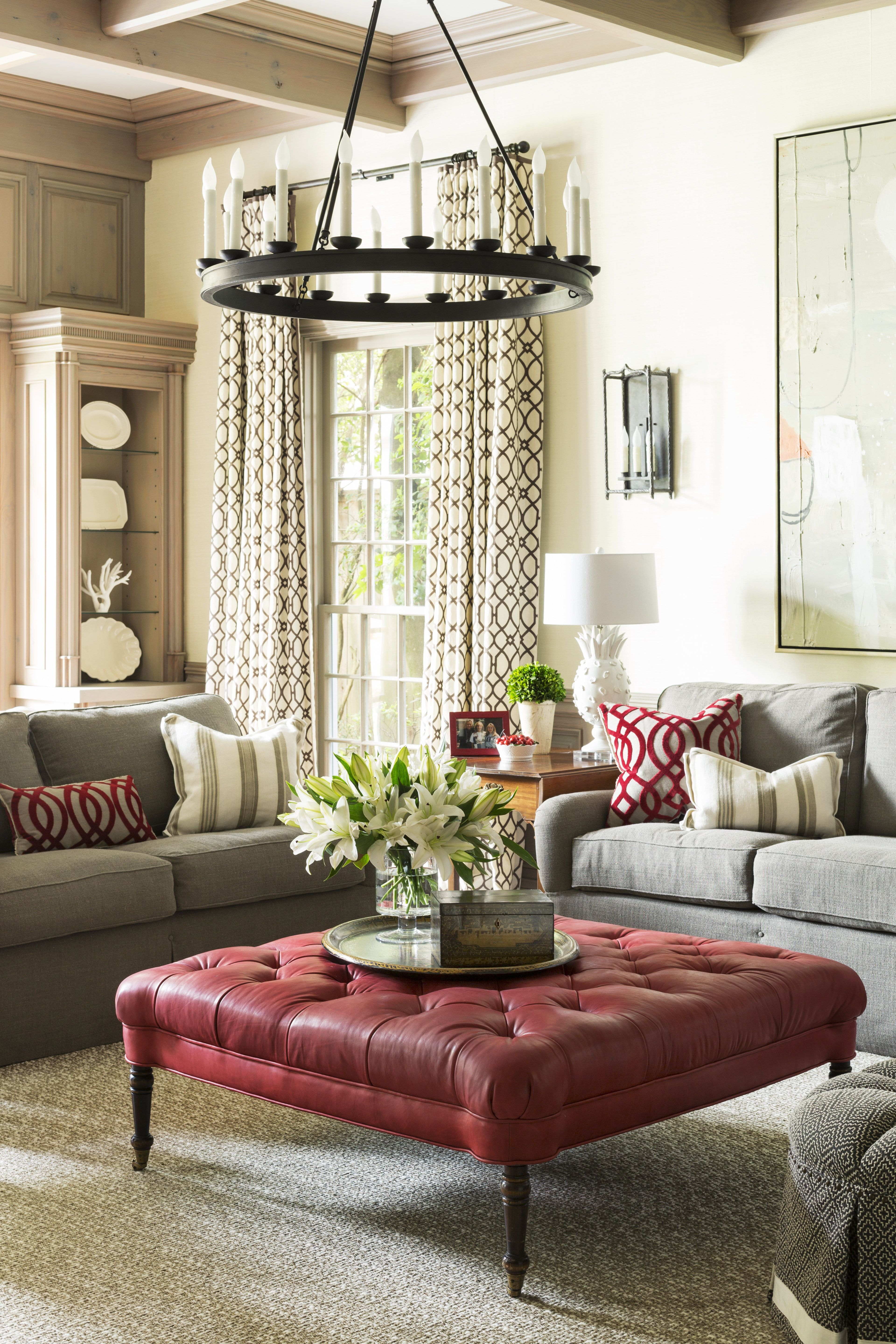 Traditional Living Room Comfortable And Inviting Red Ottoman