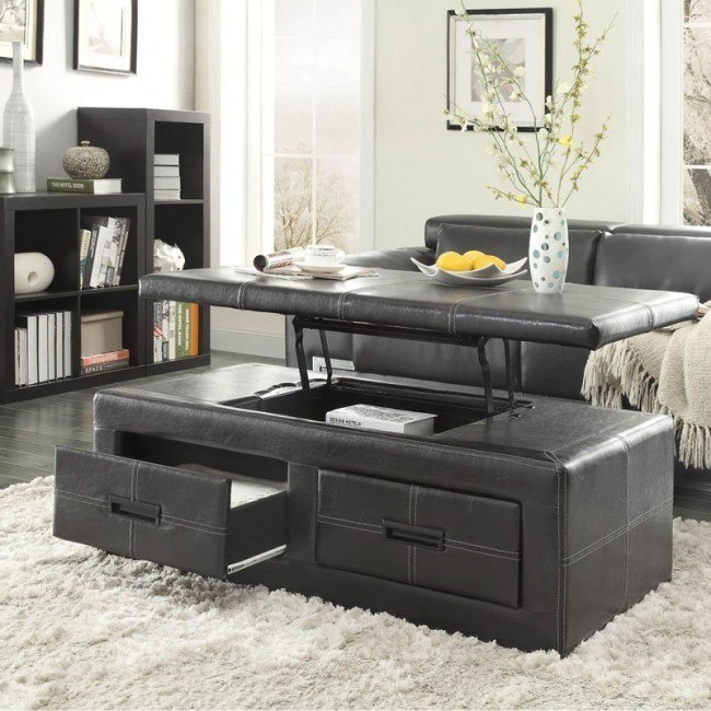 Baine Lift Top Storage Cocktail Ottoman Black Living Room Table Living Room Table Sets Coffee Table