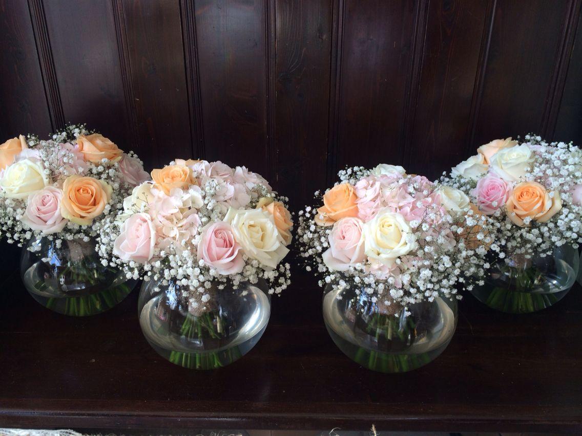 Beautiful Tied Wedding Flower Arrangements Table Centre Flowers