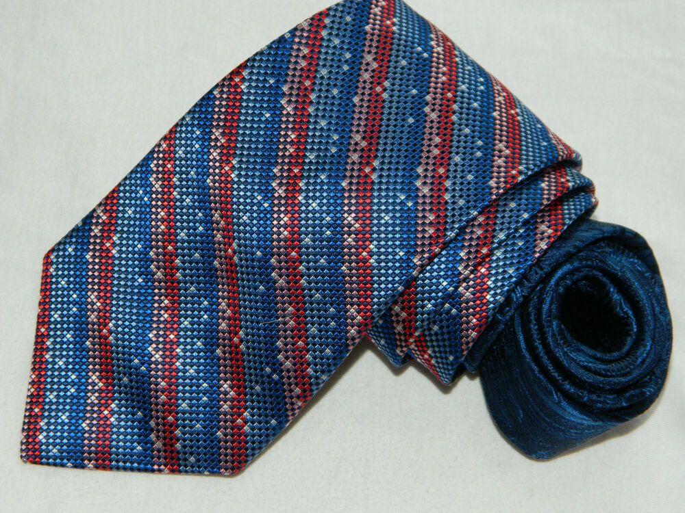 New $230 ISAIA NAPOLI Sky Blue-Burgundy-Orange Woven Check Pattern Silk Tie