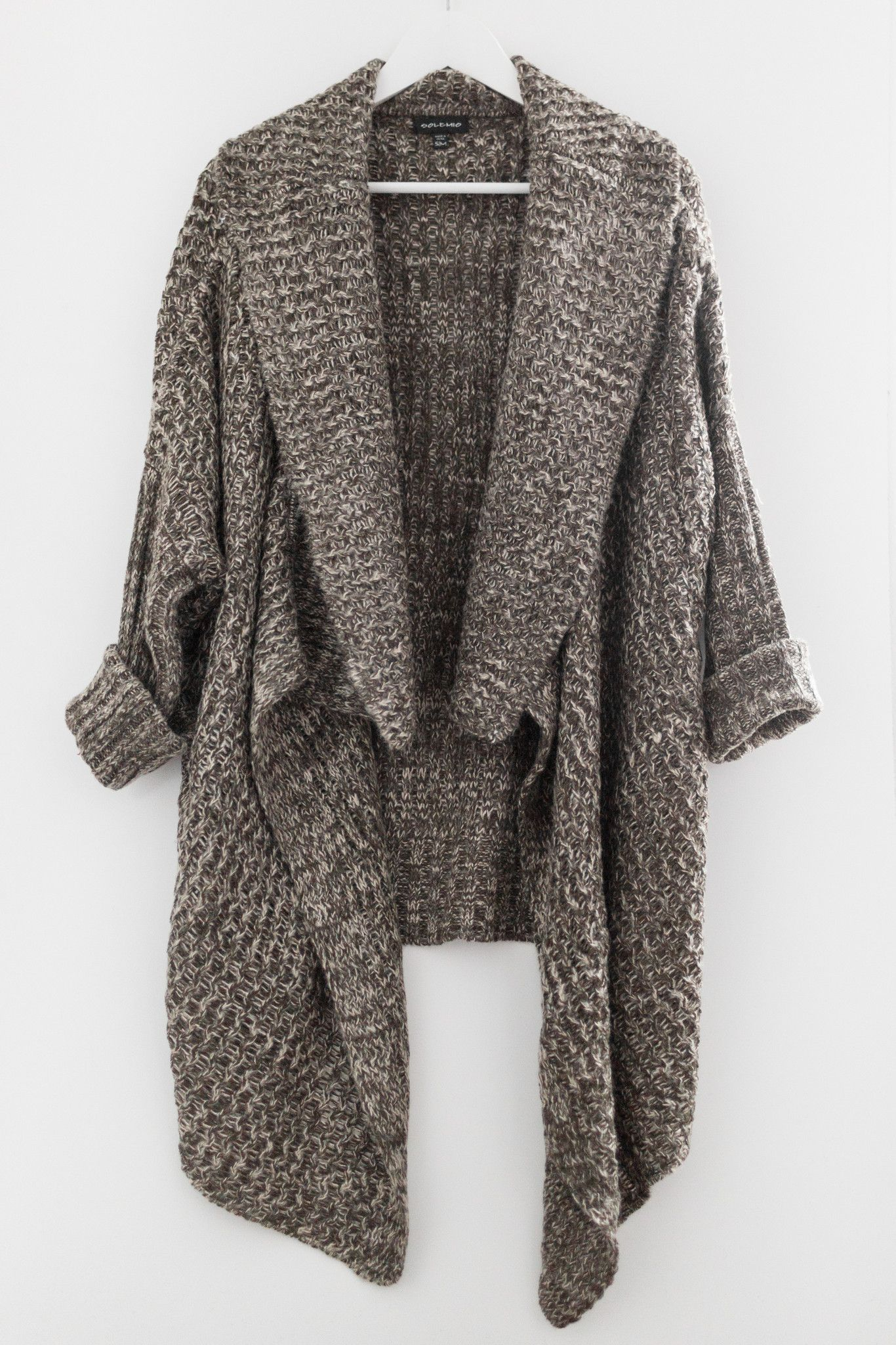 Two toned (dark olive & cream) knitted cardigan - Open waterfall ...