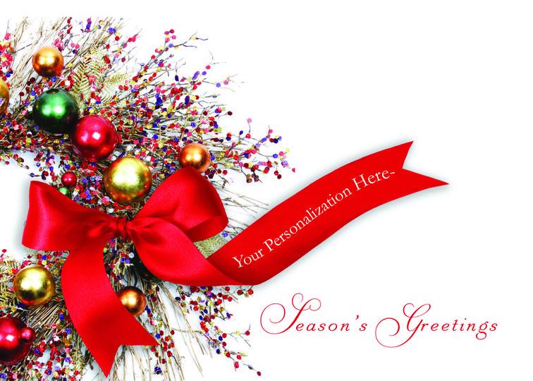 Season's Greetings Wreath Christmas Card Holiday