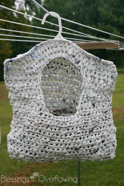 Crocheted Clothespin Bag from Plarn (Plastic Bag Yarn)