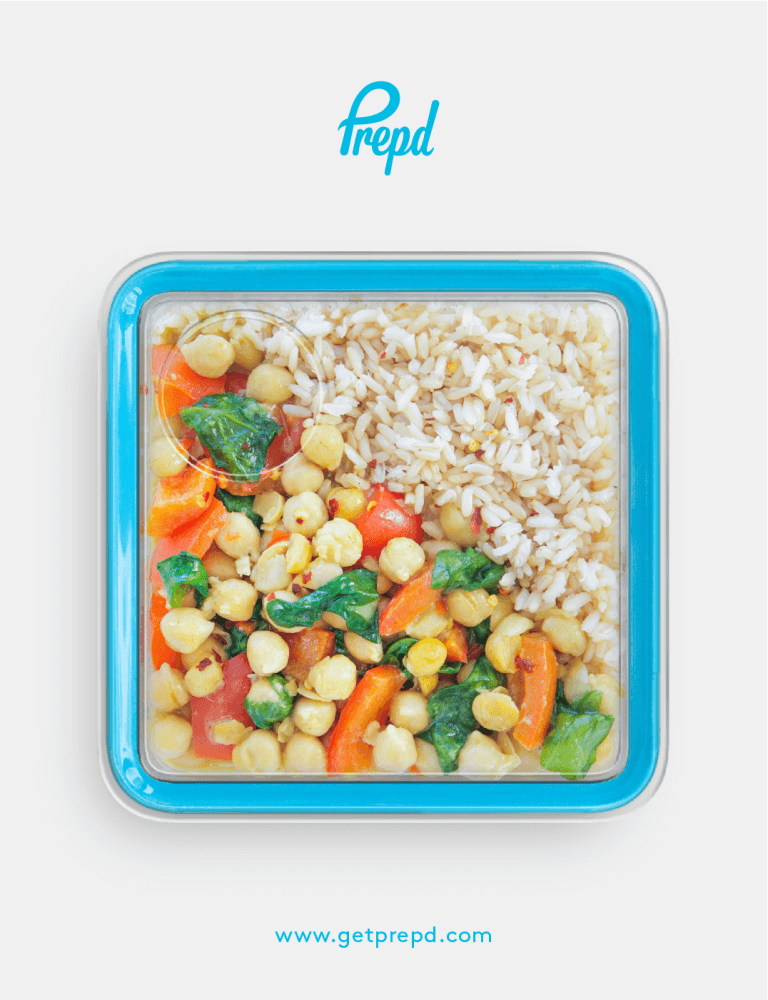 A super speedy, coconut, veggie curry with chickpeas for extra protein and a serving of brown rice to keep hunger at bay.